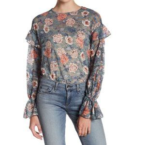 Melrose and Market Floral Print Sheer Lace Top